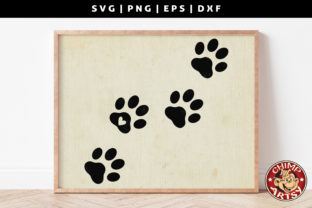 Print on Demand: Dog Paw Prints Silhouette Sublimation Graphic Crafts By ChimpArtsy