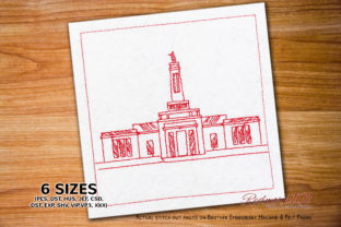 Indianapolis Indiana Temple Vacation Embroidery Design By Redwork101