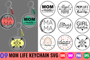 Mom Life Keychain SVG Bundle | Mom SVG Graphic Crafts By GraphicsTreasures