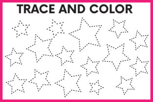 Print on Demand: Trace and Color Stars Worksheet Graphic PreK By kidobolt