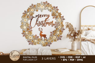 Print on Demand: WREATH CHRISTMAS Multilayer Cut Files Graphic 3D SVG By LaserCutano