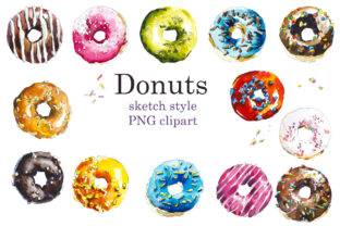 Watercolor Sketch Colorfull Donuts Graphic Objects By Мария Кутузова