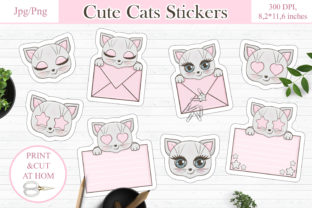 Print on Demand: Cute Cats Printable Stickers  Design Graphic Crafts By LerVik