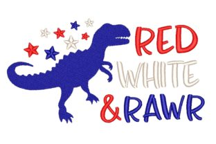 Dinosaur Independence Day Embroidery Design By NinoEmbroidery