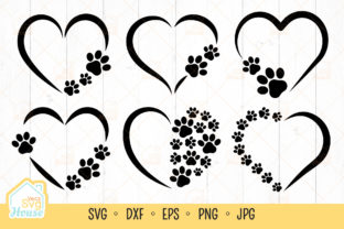 Dog Paw Print Heart Frame Monogram SVG Graphic Crafts By VeczSvgHouse