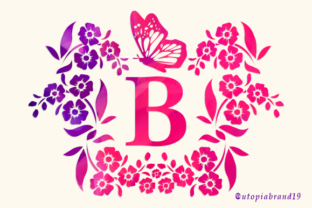 Print on Demand: Flower Butterfly Monogram Decorative Font By utopiabrand19