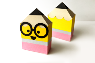 Pencil Gift Box with Nerdy Glasses SVG Graphic 3D Shapes By RisaRocksIt