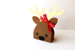 Reindeer Face Christmas Gift Box SVG Graphic 3D Christmas By RisaRocksIt