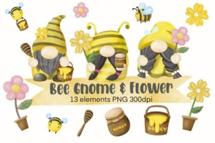 Print on Demand: Bee Gnome Watercolor Clipart Graphic Illustrations By AchitaStudio