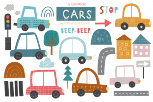 Print on Demand: Cars Clipart Set Graphic Illustrations By poppymoondesign