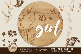 Print on Demand: GENDER REVERAL PARTY Layered Cut Files Graphic 3D SVG By LaserCutano