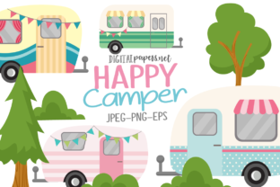 Print on Demand: Happy Camper Clipart Set Graphic Illustrations By DigitalPapers