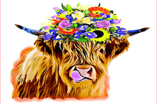 Highland Cow PNG,Cow Sublimation Clipart Graphic Illustrations By AlaBala
