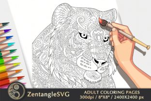 Tiger Coloring Page for Adults & Kids Graphic Coloring Pages & Books Adults By ZentangleSVG