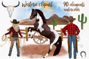 Print on Demand: Western Clipart Cowboys Cowgirls Horses Graphic Illustrations By LeCoqDesign