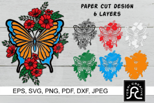 Print on Demand: 3D Layered Butterfly Flowers SVG Graphic 3D SVG By Febri Creative