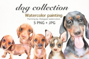Print on Demand: Dog Watercolor Clipart Graphic Illustrations By aekgasit