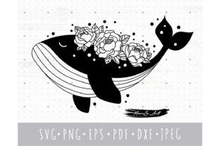 Floral Whale SVG, Whale Silhouette Svg Graphic Illustrations By MySpaceGarden