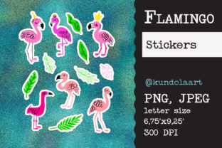 Print on Demand: Stickers Flamingo, Summer. PNG Graphic Objects By KundolaArt