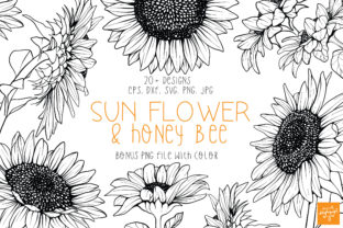 Print on Demand: Sun Flower and Honey Bee Clipart Bundle Graphic Illustrations By dapiyupi