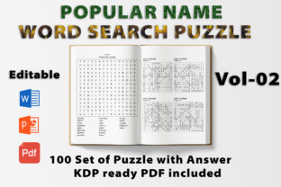 Print on Demand: Word Search Puzzle Book Popular Name -02 Graphic KDP Interiors By bengalcanvas