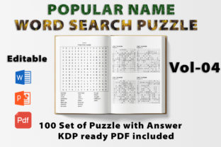 Print on Demand: Word Search Puzzle Book Popular Name -04 Graphic KDP Interiors By bengalcanvas