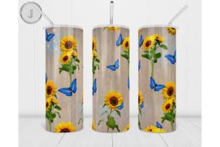 20oz Skinny Tumbler Wood Grain Sunflower Graphic Print Templates By join29design