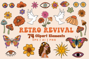 70s Retro Floral Clipart Set-PNG EPS Graphic Objects By EssentiallyNomadic