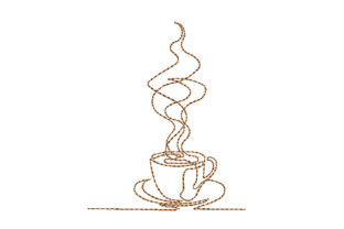 Coffee Cup One Line Tea & Coffee Embroidery Design By Canada Crafts Studio