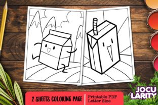 Print on Demand: Cute Kawaii Milk Box Coloring Pages Graphic Coloring Pages & Books Kids By JocularityArt