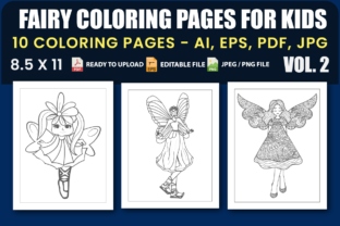 Fairy Coloring Pages for Kids Vol.2 Graphic Coloring Pages & Books Kids By triggeredit