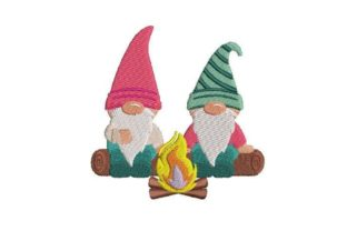 Gnomes by a Bonfire Camping & Fishing Embroidery Design By Embroidery Designs
