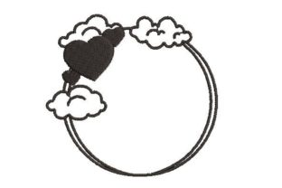 Heart and Clouds Border Borders Embroidery Design By Embroidery Designs