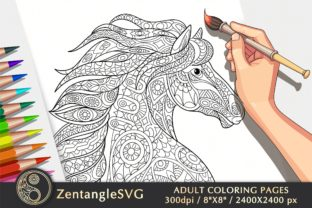 Horse Coloring Page for Adults & Kids Graphic Coloring Pages & Books Adults By ZentangleSVG