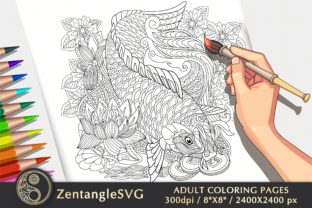Koi Fish Coloring Page for Adults & Kids Graphic Coloring Pages & Books Adults By ZentangleSVG