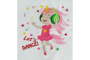 Print on Demand: Let's Dance Unicorn Girl Having Fun Dance & Drama Embroidery Design By Dizzy Embroidery Designs