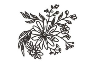 Line Art Flowers Outline Flowers Embroidery Design By Embroidery Designs