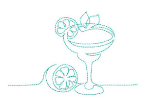 Martini Glass Cocktail Wine & Drinks Embroidery Design By Canada Crafts Studio