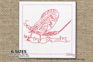 Mayfly Bugs & Insects Embroidery Design By Redwork101