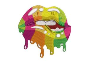 Multicolored Dripping Lips Beauty Embroidery Design By Embroidery Designs