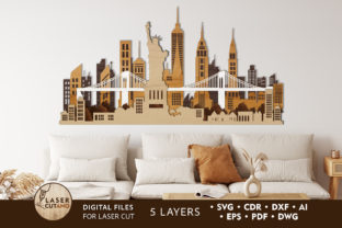 Print on Demand: NEW YORK City Multilayer Laser Cut Files Graphic 3D SVG By LaserCutano