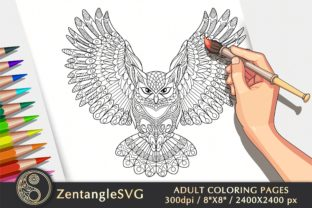 Owl Coloring Page for Adults & Kids Graphic Coloring Pages & Books Adults By ZentangleSVG