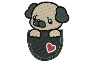 Print on Demand: Pocket Pug Dogs Embroidery Design By litcyz