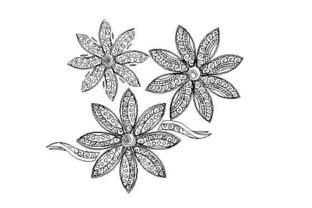 Polynesianstyle Flower Outline Flowers Embroidery Design By Embroidery Designs