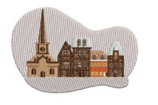 Row of Buildings Cities & Villages Embroidery Design By Embroidery Designs