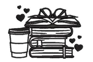 Stack of Books and Coffee Games & Leisure Embroidery Design By Embroidery Designs