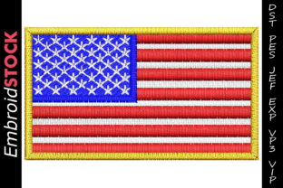 USA Flag North America Embroidery Design By embroidstock