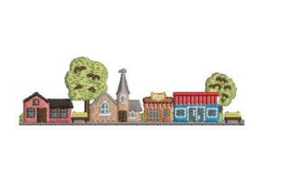 Village Scene Cities & Villages Embroidery Design By Embroidery Designs