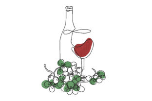 Wine Bottle and Glass Wine & Drinks Embroidery Design By Canada Crafts Studio