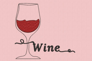 Wine Glass Wine & Drinks Embroidery Design By Canada Crafts Studio